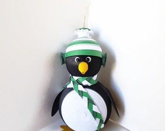 Penguin Christmas Decoration Ornament Paper Quilled Art with Green Hat and Scarf