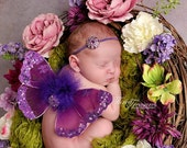 Baby Headband, Purple Rhinestone, Simple Elegant, Newborn Headband, Photo Prop, Many Colors