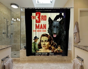 Mudi Art Shower Curtain, Dog Shower Curtains, Bathroom Decor - The Third Man Movie Poster  Perfect CHRISTMAS Gift SALE 25 off Free Shipping