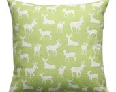 SALE Decorative Throw Pillows- Premier Prints Kiwi Green Deer Silhouette Pillow Cover- All Sizes- Zippered Pillow- Green Cushion Cover- Mode