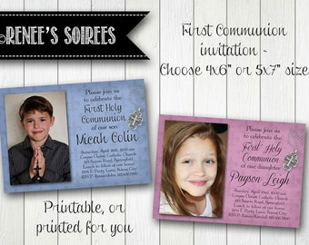 Fleur-de-Lis FIRST COMMUNION, CONFIRMATION or Baptism Invitation - Printable Fleur-de-Lys Photo Invite - for Boys or Girls - diy Christening
