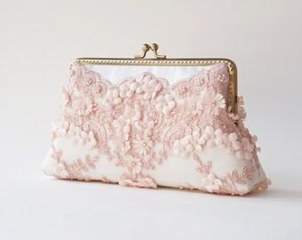 Rose Quartz Clutch / Blush Rose clutch / Bridesmaid clutch purse / Wedding Vintage inspired / Personalized romance lace clutch