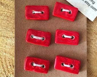 Ceramic Red Buttons - Handmade Artisan Buttons - Handmade Buttons - Red rectangle Buttons - Fibre Art - Knitting -Crochet
