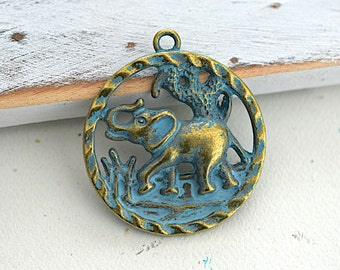Elephant Round Pendant - Brass With Blue Patina Finish -40 mm- 1 Piece