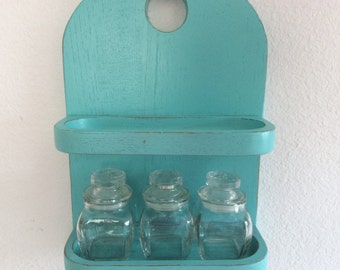 Turquoise Wood Spice Rack - Apothrcary Jars - Craft Room Storage - Shabby Cottage Chic - Distressed Beach Decor - Aqua Turquoise Kitchen