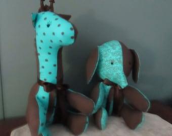 GIRAFFE and ELEPHANT Cloth Stuffed Animal Toy set
