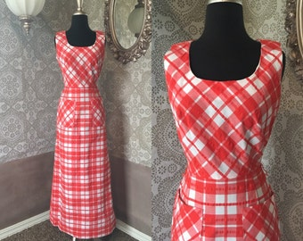 Vintage 1970's Red and White Large Gingham Print Maxi Dress Small