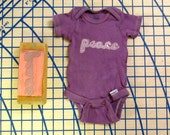 Plum purple hand stamped Peace onesie, Newborn size. 100% cotton. R003