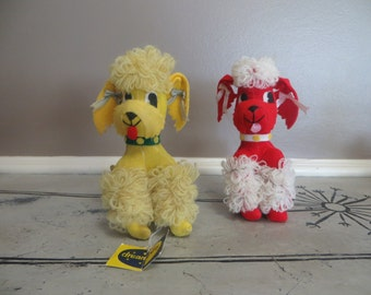 Dakin Dream Pets Penny Poodle Yellow Poodle Red Poodle Dream Dolls 1960s Stuffed Animal Mod Toys Velvet Poodle Mod Kitschy Decor