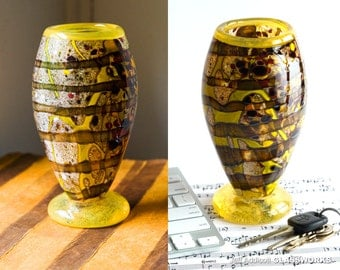 Wildly Individual Glass Goblet - Gritty Earth Tones with Yellow and Brown Wraps