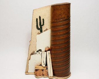 Schlag Studio Pottery Vase - Scuptural Southwestern Motif - Perfect Condition - American Art Pottery Stoneware