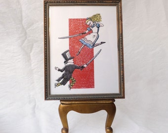 Framed giclee print of Alice vs Mad Hatter, Susan Sanford Art