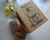 Stamp of a bird in a swing for children. DIY projects with kids. Polymer seal stamp. Stamping with children art project. Stamp for kids.