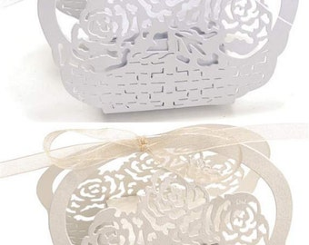 Party Favor Box Flowers Pearled Laser Cut 25pcs