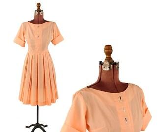 ON SALE Vintage 1950's Pastel Sherbet Orange Mid Century Pin Up Full Pleated Skirt Dress S