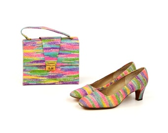 Vintage 1960's Mezzo Bright Abstract Rainbow Mod High Heel Shoes + Matching Handbag Purse 7