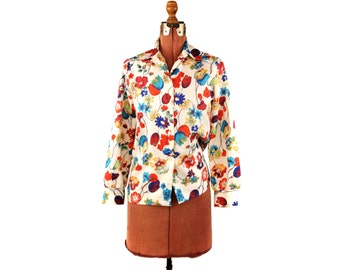Vintage 1970's White + Colorful Summer Floral Bright Novilty Print Preppy Blouse Shirt M