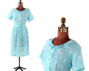 Vintage 1960's Sky Blue + White Floral Print Scalloped Collar Preppy Mid Century Day Dress M
