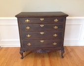 SOLD ** Chic and Shabby Aged Black Dresser / Chest / Hall Piece