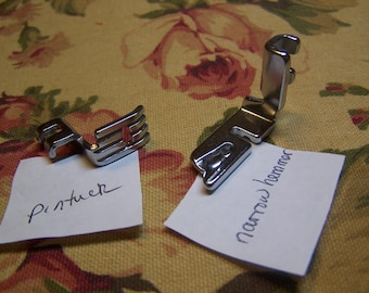 Set of 2 Low Shank Attachments for Sewing Machine Pintuck & Rolled Hemmer Foot
