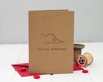 Dinosaur Love Card - Dinosaur Valentine Card  - Dinosaur Card - Anniversary Card  - Funny card - Romantic Card
