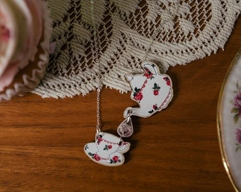 Teapot and teacup pink floral necklace, wooden laser cut