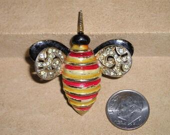 Vintage Signed Kramer Rhinestone Enamel Bee Pin Brooch 1950's Jewelry 2021