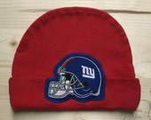 New York Giants Baby Hat Made from NY Giants Fabric, Giants Baby, NY Baby, Baby Boy Giants, Baby Giants Hat, Baby Shower Gift, New Baby Gift