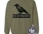 Nevermore Raven Sweatshirt Black Bird Sweater Book Literature Poems Gifts For Him Mens Womens Edgar Allan Poe Halloween Gifts For Teachers