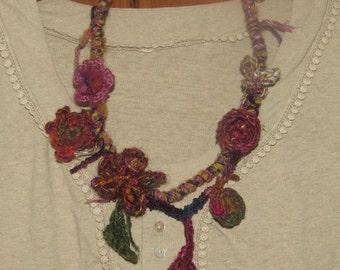 Artisan Statement Necklace Silk & Wool Crochet Felted Flower Jewellery Fairy Jewelry Scarf Felt Natural Neckwarmer Lagenlook Scarf