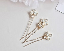 Set of 3 Art Deco Hair  Pins - White Opaline and Clear Crystal Rhinestones -Gold  Bridal  Bun Pins -  Wedding Hair style -