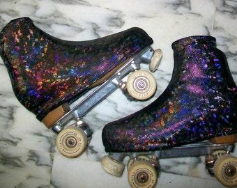 Black hologram skate boot covers for ice skates or roller skates