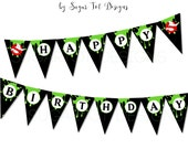 Ghostbusters Party Banner, Happy Birthday Ghostbusters Banner, Printable Ghostbusters Pennant Banner with Slime - INSTANT DOWNLOAD