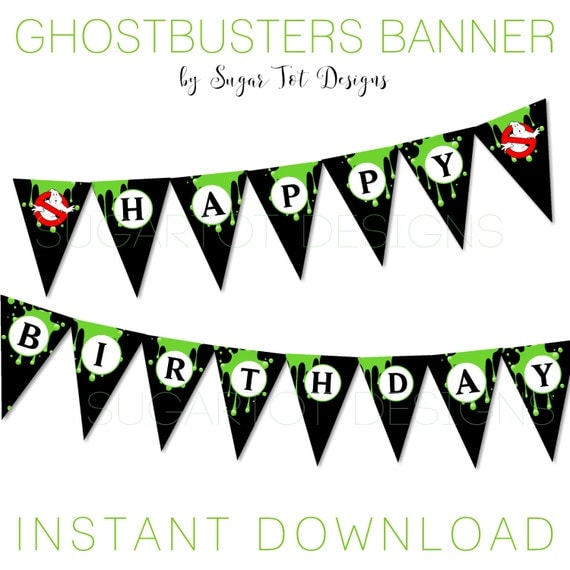Ghostbusters Party Banner Happy Birthday Ghostbusters Banner