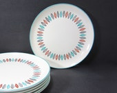 """Marcrest Nordic Mint Leaf 10"""" Dinner Plates / Set of 6 / Made in U.S.A. / Dinnerware / 1950s 1960s / Mid Century Modern"""