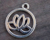 6 Antiqued  Silver Lotus Flower Charms 24mm