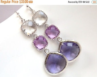 SALE Purple Earrings, Lavender, Drop, Dangle, Lilac, Glass Clear Silver, Bridesmaid Jewelry, Bridesmaid Earrings, Bridal Jewelry, Bridesmaid