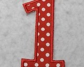 Birthday Number One (4 inch Standard font)) Tutu & Shirt Supplies - fabric iron on Applique Patch 7705