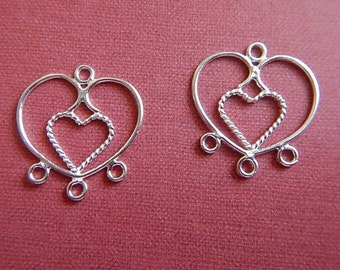 Hill Tribe Rope Heart Fine Sterling Silver Earring Drops 3 Loops Pendant Focal One Pair