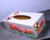 Wooden kleenex box/quilled box/decorative box/quilled butterflies/quilled flowers/colourful decorative box