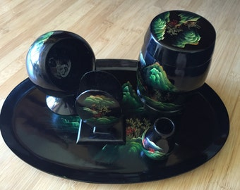 Pristine Vintage Chinese Five piece black lacquer Tobacco Set with landscape detail