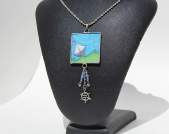 Nautical Glass pendant/necklace with unique graphics and charms