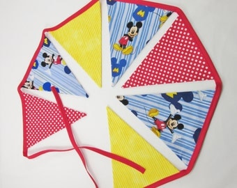 Mickey Mouse Clubhouse Fabric Banner - Mickey Mouse First Birthday Party Decor - Room Decor - Your choice of 5 7 or 9 Large Flags -Classroom