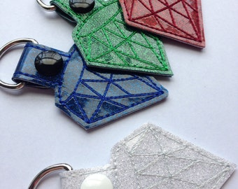 Jewel KeyChain, Snap Tab Key Fob in Diamond, Emerald, Sapphire, Ruby, Gold, and Silver!