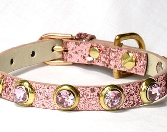 """Pink Dog Collar, Small Pink dog collar, Small Dog Pink Collar, Sizes 10-14"""" inches , Fancy Poodle Collar!"""