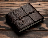 Leather Journal or Leather Sketchbook, Pocket Sized, Lizard Embossed Brown Leather Handbound Notebook