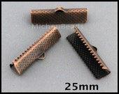 BULK 100 Textured 25mm Antiqued COPPER Iron Ribbon End CRIMPS - 25x6mm Rectangle Clamp Crimps Leather and Cord - Usa Discount Crimps - 6561