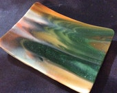 "4"" AVENTURINE GREEN & ORANGE Jewelry Spoon Rest TeaBag Fused Glass AG1"