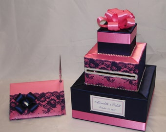 Navy Blue and Pink Card Box with Matching Guest Book and Pen-Lace design