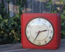 Vintage Red Clock,  Gilbert , Art Deco, Glass dome, Metal clock, Free shipping